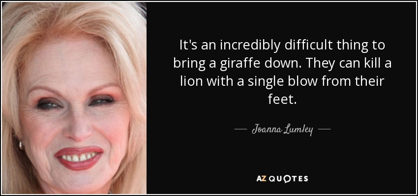 It's an incredibly difficult thing to bring a giraffe down. They can kill a lion with a single blow from their feet. - Joanna Lumley