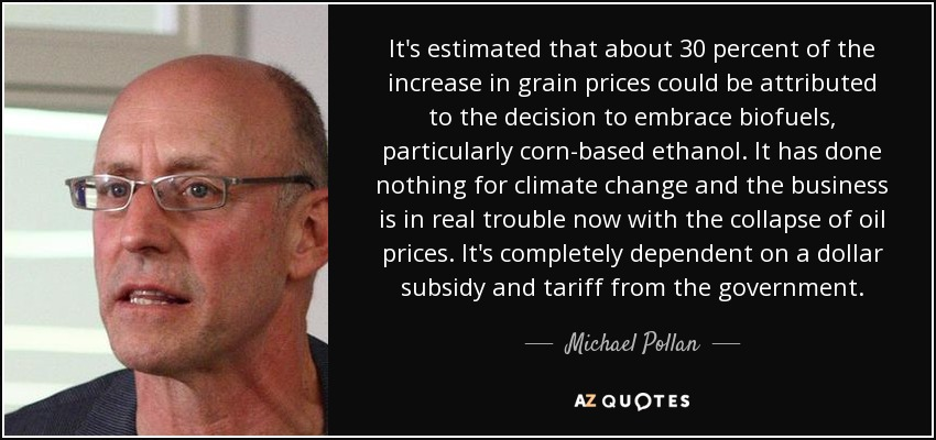 It's estimated that about 30 percent of the increase in grain prices could be attributed to the decision to embrace biofuels, particularly corn-based ethanol. It has done nothing for climate change and the business is in real trouble now with the collapse of oil prices. It's completely dependent on a dollar subsidy and tariff from the government. - Michael Pollan