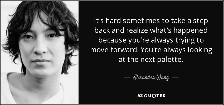 It's hard sometimes to take a step back and realize what's happened because you're always trying to move forward. You're always looking at the next palette. - Alexander Wang