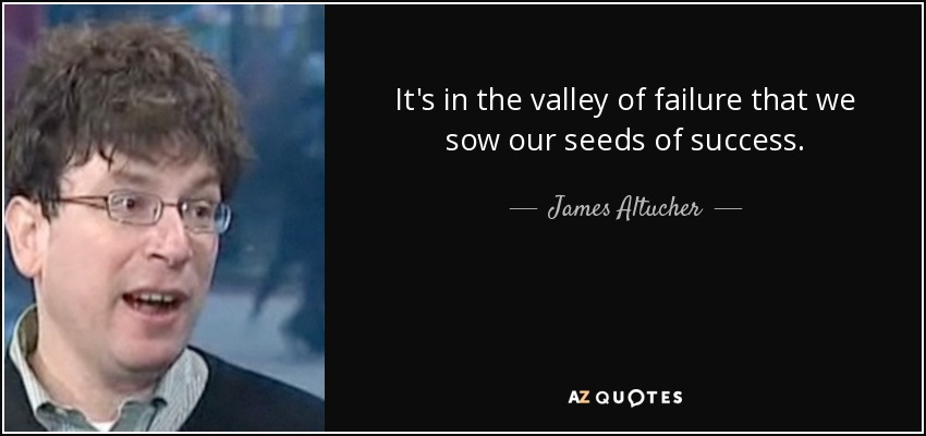 It's in the valley of failure that we sow our seeds of success. - James Altucher