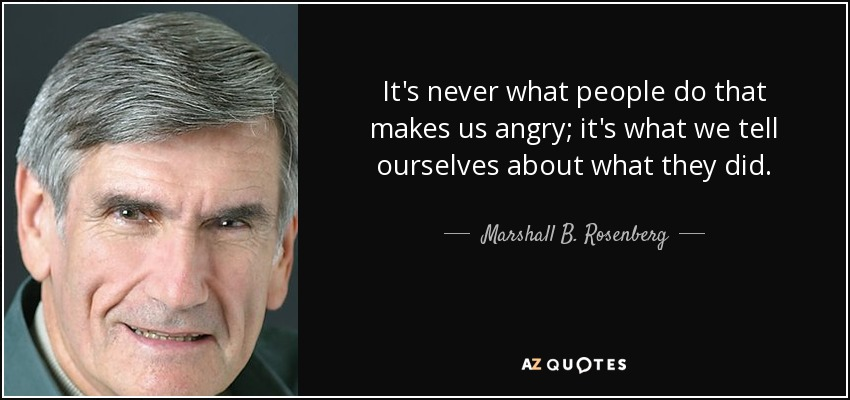 It's never what people do that makes us angry; it's what we tell ourselves about what they did. - Marshall B. Rosenberg