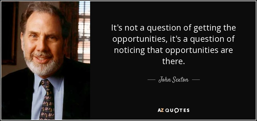 It's not a question of getting the opportunities, it's a question of noticing that opportunities are there. - John Sexton