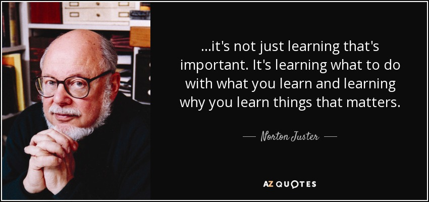 ...it's not just learning that's important. It's learning what to do with what you learn and learning why you learn things that matters. - Norton Juster