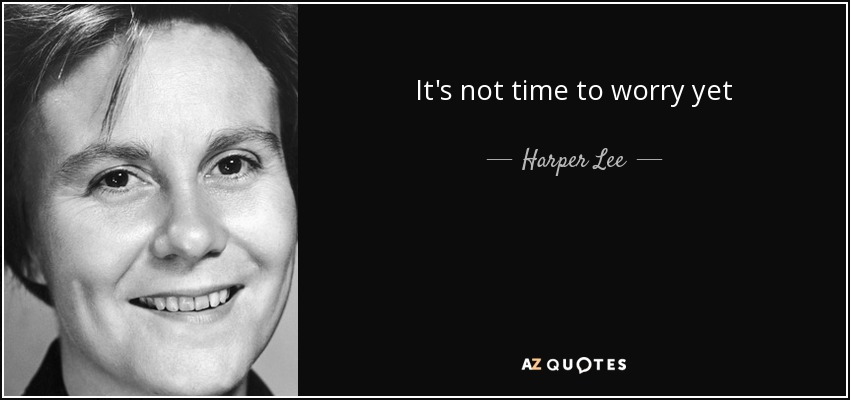It's not time to worry yet - Harper Lee