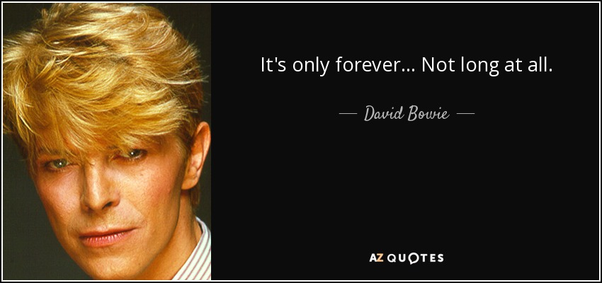 It's only forever... Not long at all. - David Bowie