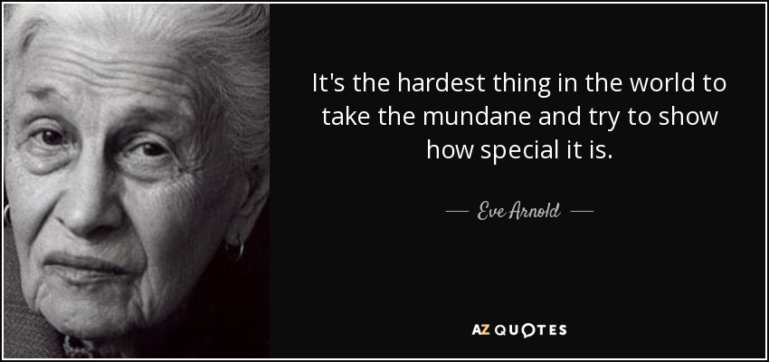 It's the hardest thing in the world to take the mundane and try to show how special it is. - Eve Arnold