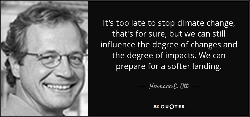 It's too late to stop climate change, that's for sure, but we can still influence the degree of changes and the degree of impacts. We can prepare for a softer landing. - Hermann E. Ott