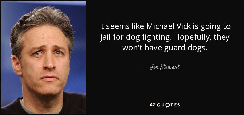 It seems like Michael Vick is going to jail for dog fighting. Hopefully, they won't have guard dogs. - Jon Stewart