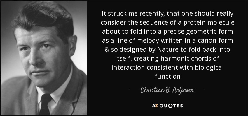 It struck me recently, that one should really consider the sequence of a protein molecule about to fold into a precise geometric form as a line of melody written in a canon form & so designed by Nature to fold back into itself, creating harmonic chords of interaction consistent with biological function - Christian B. Anfinsen