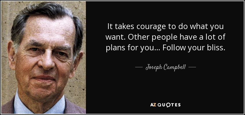 It takes courage to do what you want. Other people have a lot of plans for you... Follow your bliss. - Joseph Campbell