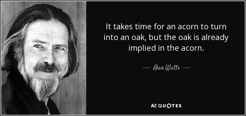 It takes time for an acorn to turn into an oak, but the oak is already implied in the acorn. - Alan Watts