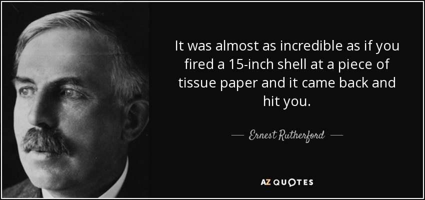 It was almost as incredible as if you fired a 15-inch shell at a piece of tissue paper and it came back and hit you. - Ernest Rutherford