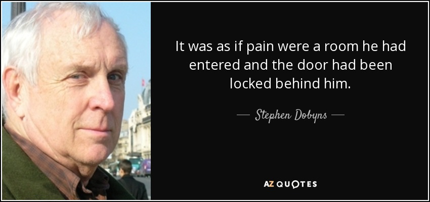 It was as if pain were a room he had entered and the door had been locked behind him. - Stephen Dobyns