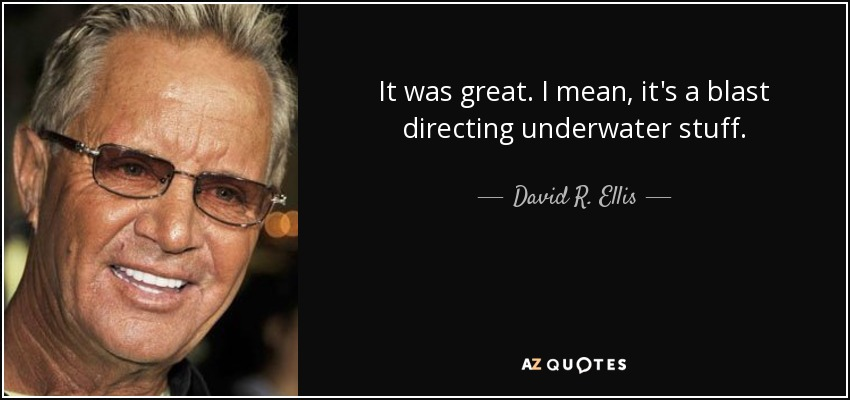 It was great. I mean, it's a blast directing underwater stuff. - David R. Ellis