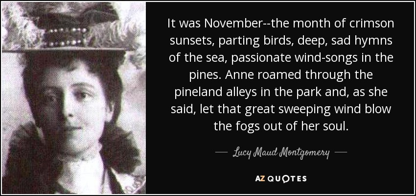 It was November--the month of crimson sunsets, parting birds, deep, sad hymns of the sea, passionate wind-songs in the pines. Anne roamed through the pineland alleys in the park and, as she said, let that great sweeping wind blow the fogs out of her soul. - Lucy Maud Montgomery