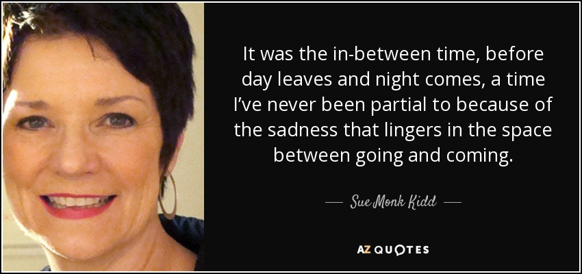 It was the in-between time, before day leaves and night comes, a time I've never been partial to because of the sadness that lingers in the space between going and coming. - Sue Monk Kidd