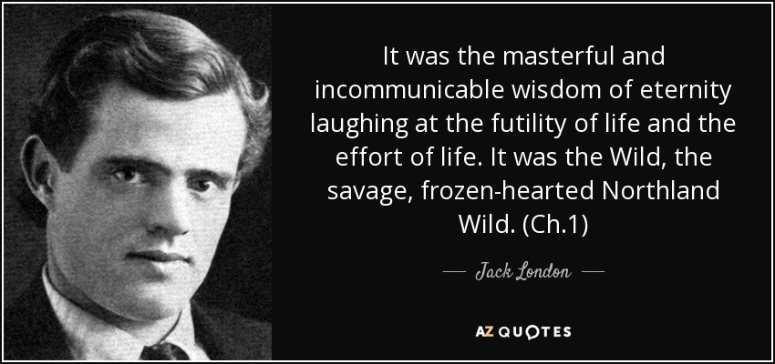It was the masterful and incommunicable wisdom of eternity laughing at the futility of life and the effort of life. It was the Wild, the savage, frozen-hearted Northland Wild. (Ch.1) - Jack London