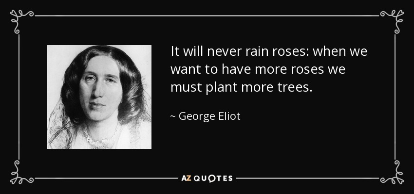 It will never rain roses: when we want to have more roses we must plant more trees. - George Eliot