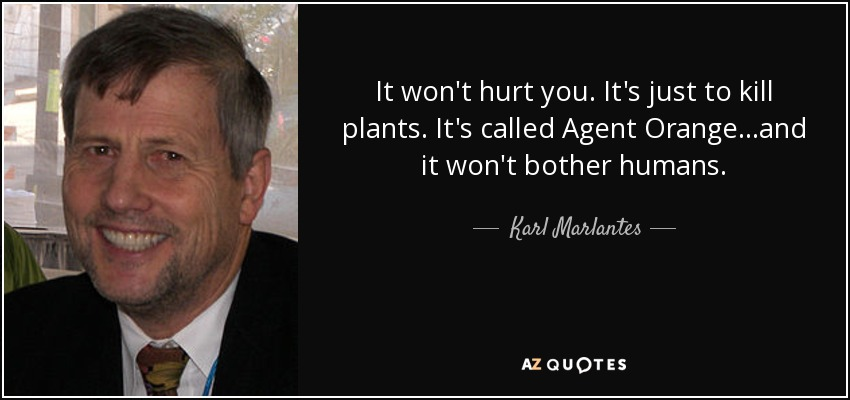 It won't hurt you. It's just to kill plants. It's called Agent Orange...and it won't bother humans. - Karl Marlantes