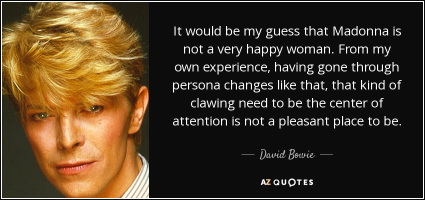 David Bowie quote: It would be my guess that Madonna is not a...