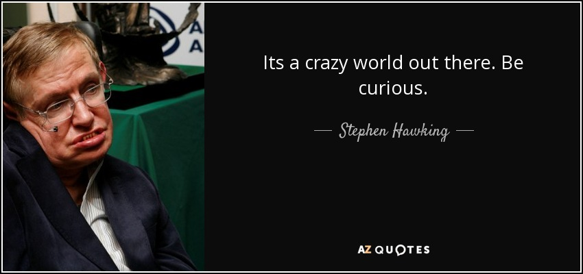 Its a crazy world out there. Be curious. - Stephen Hawking