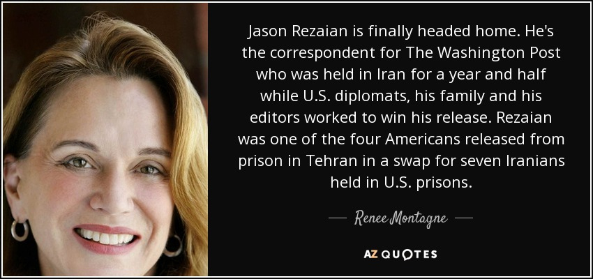 Jason Rezaian is finally headed home. He's the correspondent for The Washington Post who was held in Iran for a year and half while U.S. diplomats, his family and his editors worked to win his release. Rezaian was one of the four Americans released from prison in Tehran in a swap for seven Iranians held in U.S. prisons. - Renee Montagne