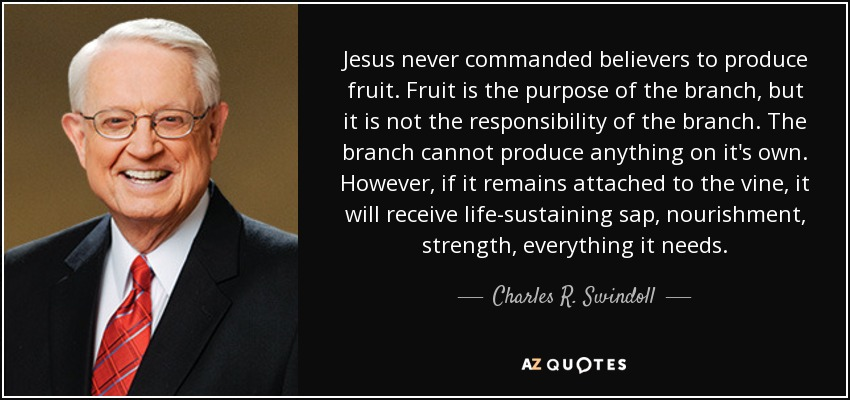 Jesus never commanded believers to produce fruit. Fruit is the purpose of the branch, but it is not the responsibility of the branch. The branch cannot produce anything on it's own. However, if it remains attached to the vine, it will receive life-sustaining sap, nourishment, strength, everything it needs. - Charles R. Swindoll