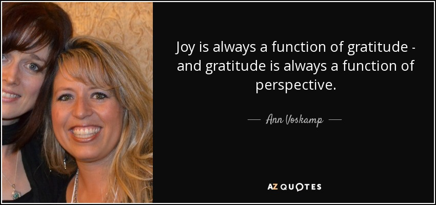 Joy is always a function of gratitude - and gratitude is always a function of perspective. - Ann Voskamp