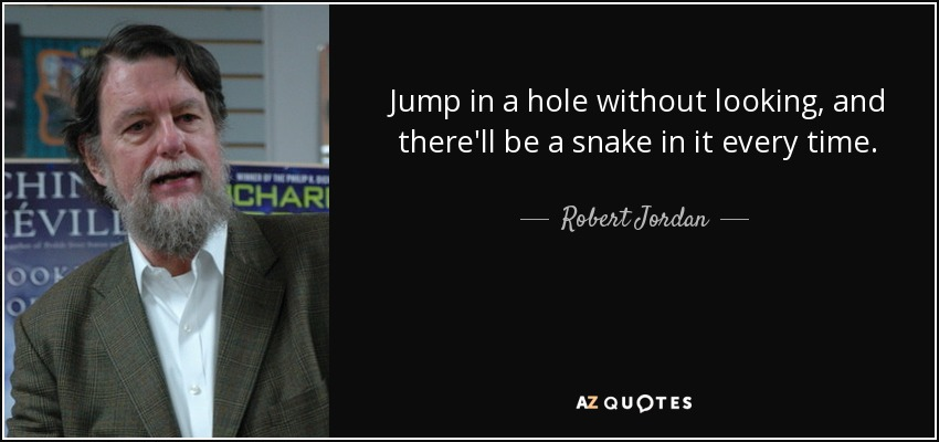 Jump in a hole without looking, and there'll be a snake in it every time. - Robert Jordan