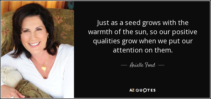 Just as a seed grows with the warmth of the sun, so our positive qualities grow when we put our attention on them. - Arielle Ford