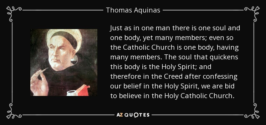 Just as in one man there is one soul and one body, yet many members; even so the Catholic Church is one body, having many members. The soul that quickens this body is the Holy Spirit; and therefore in the Creed after confessing our belief in the Holy Spirit, we are bid to believe in the Holy Catholic Church. - Thomas Aquinas