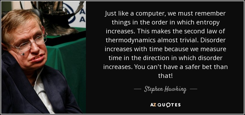 Just like a computer, we must remember things in the order in which entropy increases. This makes the second law of thermodynamics almost trivial. Disorder increases with time because we measure time in the direction in which disorder increases. You can't have a safer bet than that! - Stephen Hawking