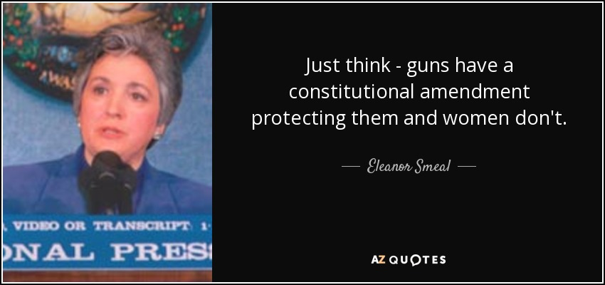 Just think - guns have a constitutional amendment protecting them and women don't. - Eleanor Smeal