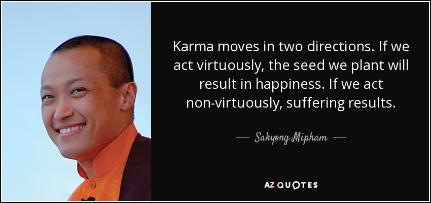 Karma moves in two directions. If we act virtuously, the seed we plant will result in happiness. If we act non-virtuously, suffering results. - Sakyong Mipham