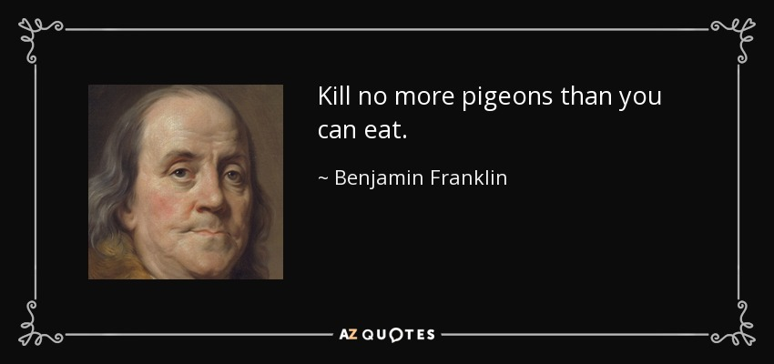 Kill no more pigeons than you can eat. - Benjamin Franklin