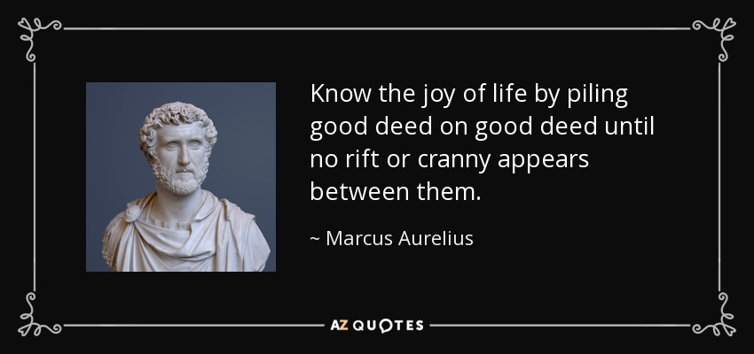 Know the joy of life by piling good deed on good deed until no rift or cranny appears between them. - Marcus Aurelius