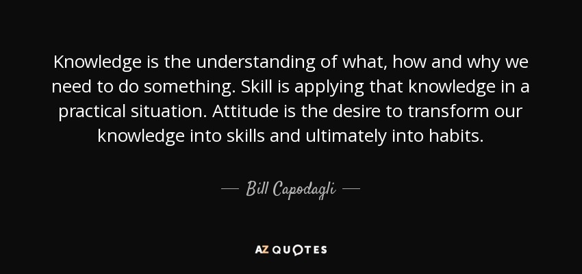 Knowledge is the understanding of what, how and why we need to do something. Skill is applying that knowledge in a practical situation. Attitude is the desire to transform our knowledge into skills and ultimately into habits. - Bill Capodagli