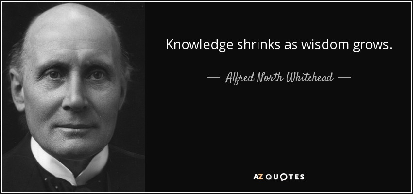 Knowledge shrinks as wisdom grows. - Alfred North Whitehead