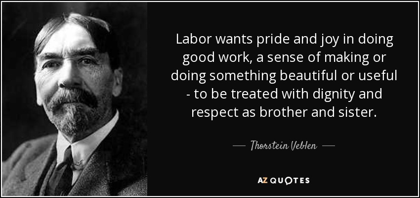 Labor wants pride and joy in doing good work, a sense of making or doing something beautiful or useful - to be treated with dignity and respect as brother and sister. - Thorstein Veblen