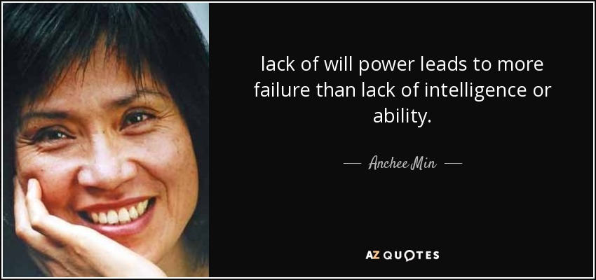 lack of will power leads to more failure than lack of intelligence or ability. - Anchee Min