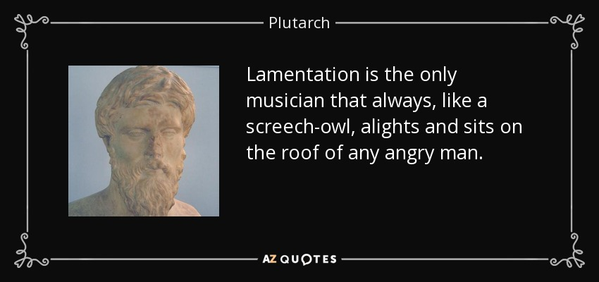 Lamentation is the only musician that always, like a screech-owl, alights and sits on the roof of any angry man. - Plutarch