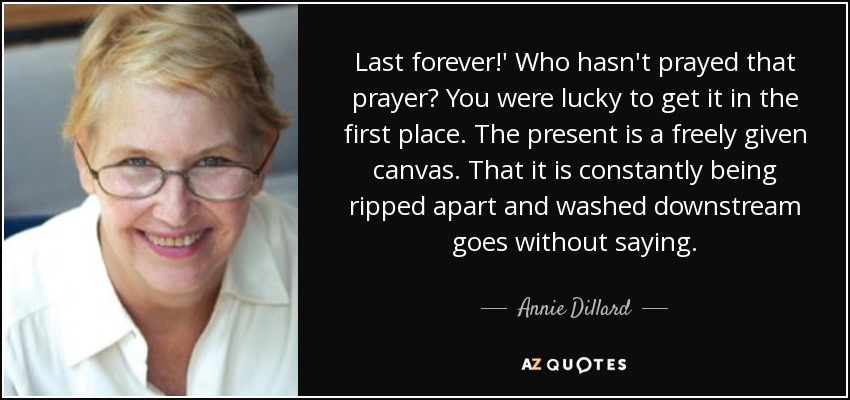 Last forever!' Who hasn't prayed that prayer? You were lucky to get it in the first place. The present is a freely given canvas. That it is constantly being ripped apart and washed downstream goes without saying. - Annie Dillard
