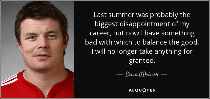 Brian Odriscoll Quote Last Summer Was Probably The Biggest