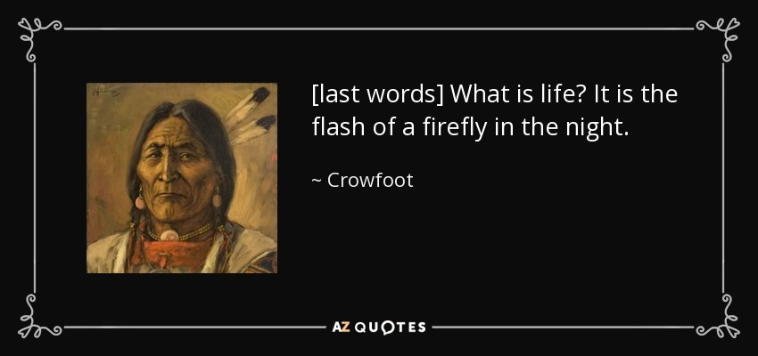 [last words] What is life? It is the flash of a firefly in the night. - Crowfoot