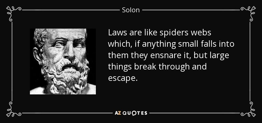 Laws are like spiders webs which, if anything small falls into them they ensnare it, but large things break through and escape. - Solon