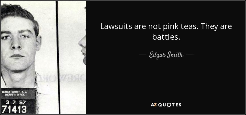 Lawsuits are not pink teas. They are battles. - Edgar Smith