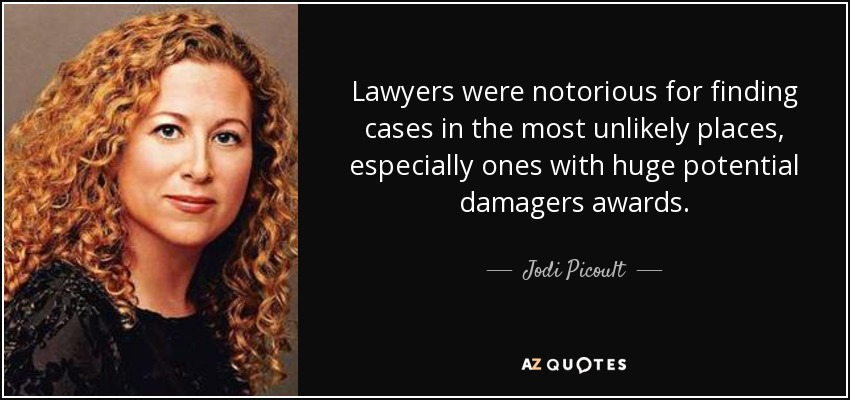 Lawyers were notorious for finding cases in the most unlikely places, especially ones with huge potential damagers awards. - Jodi Picoult