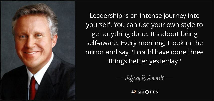 Leadership is an intense journey into yourself. You can use your own style to get anything done. It's about being self-aware. Every morning, I look in the mirror and say, 'I could have done three things better yesterday.' - Jeffrey R. Immelt