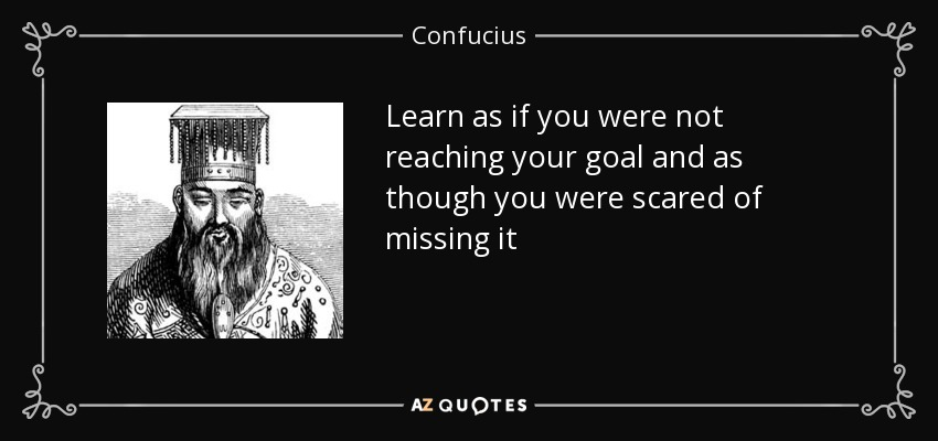 Learn as if you were not reaching your goal and as though you were scared of missing it - Confucius