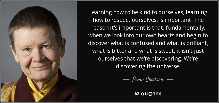 Learning how to be kind to ourselves, learning how to respect ourselves, is important. The reason it's important is that, fundamentally, when we look into our own hearts and begin to discover what is confused and what is brilliant, what is bitter and what is sweet, it isn't just ourselves that we're discovering. We're discovering the universe. - Pema Chodron